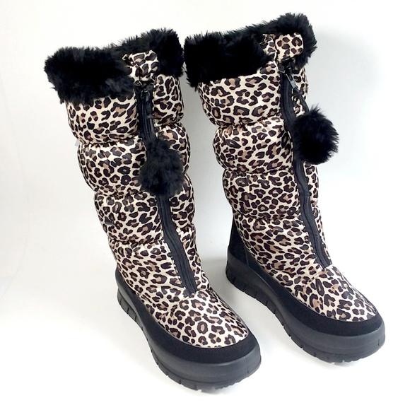 leopard print snow boots